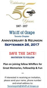 Toronto Whiff of Grape 50th Anniversary, Tuesday, September 26, 2017